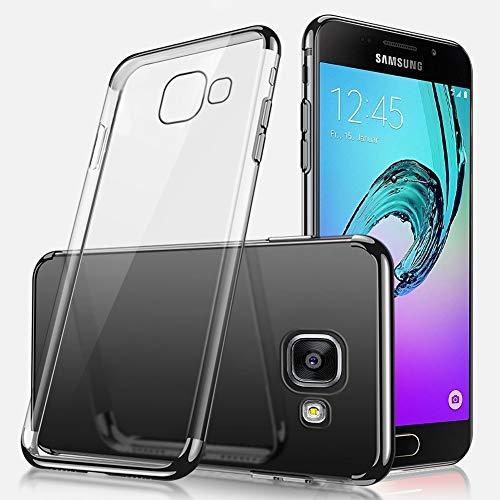 Ukayfe Custodia Compatibile con Samsung Galaxy A5 2016,Trasparente HD Morbido TPU Silicone Cover Placcatura Bumper Case Ultra Sottile Flessibile Crystal Clear TPU Antiurto Protettiva-Nero