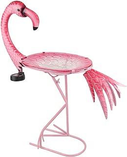 HONGLAND Outdoor Solar Birdbath Flamingo Bird Feeder Glass Bowl with Metal Stand for Garden,Lawn,Backyard,Porch