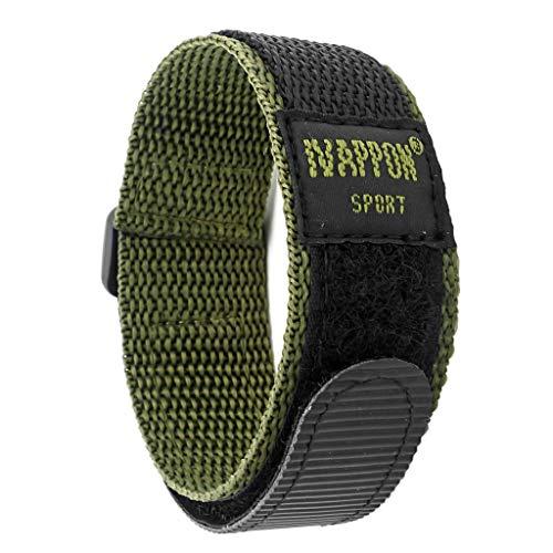 IVAPPON 時計ベルト マジックテープ カジュアル アウトドア スポーツ ナイロン ストラップ 腕時計用 (22mm 標準長, グリーンナイロン/プラスチック尾錠)