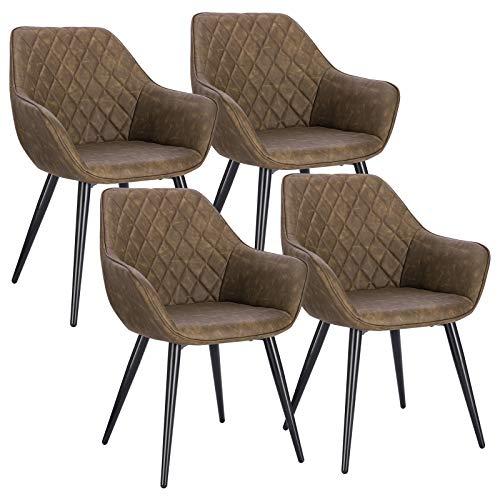 WOLTU BH251dbr-4 4X Esszimmerstühle Küchenstühle Wohnzimmerstuhl Polsterstuhl Designstuhl mit Armlehne und Rückenlehne Sitzfläche aus Kunstleder Metallbeine Dunkelbraun