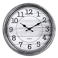 JoFomp Vintage Wall Clock, 13 Inch Silent Non-Ticking Quartz Battery Operated Wall Clocks, Retro Style Decorative Wall Clock for Home, Living Room, Kitchen, Bedroom, Office (Silver Gray)