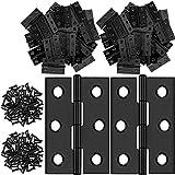 24 Piezas de Bisagras Plegables de Acero Inoxidable de 1,8 Pulgadas Bisagras de Puerta de Herrajes de Muebles con 144 Piezas de Tornillos de Acero INoxidable para Puerta Armario (Negro)