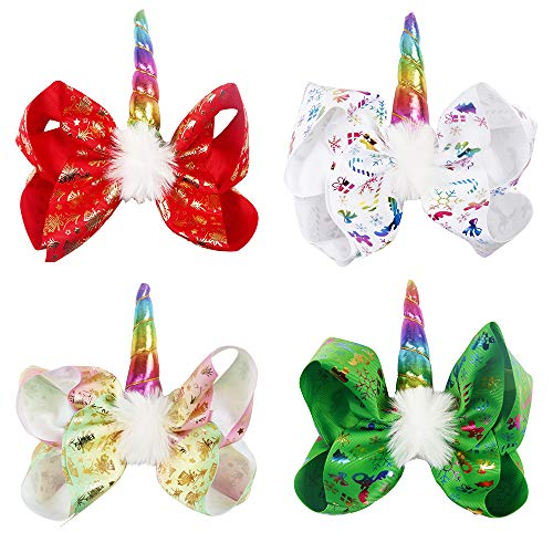 Oaoleer 7 inch Unicorn Cheer Bows Girls Christmas Hair Bows With Elastic Band for Cheerleader Girls Pack of 4 (4pcs Christmas Unicorn Cheer Bows)
