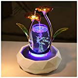 crapelles Red Glass Flower Fountain Waterfall Tabletop Water Feature Cascade Indoor Decoration Aquarium Zen Relaxesion Humidifier Meditation Colorful Fish Tank Modern Golden Color Metal Wrought Iron