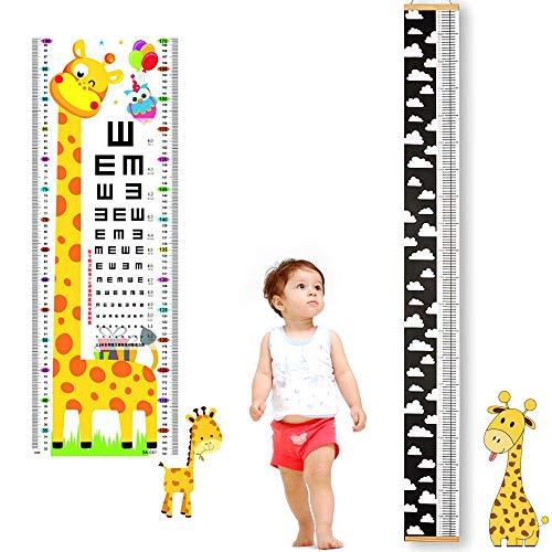 RMENOOR Messlatte Kind holz und Sehtafel Giraffe Höhe Wachstum Diagramm Wasserdicht Wachstumstabelle kinder Deko Wand Messlatte Wachstumdiagramm Wolke Messlatte Kinderzimmer Holz für Wohnzimmer