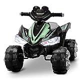Kidzone Kids Ride On ATV Car 12V Battery Powered Electric 4-Wheeler 2 Speed Kid Quad Bike LED Headlights, Light Green