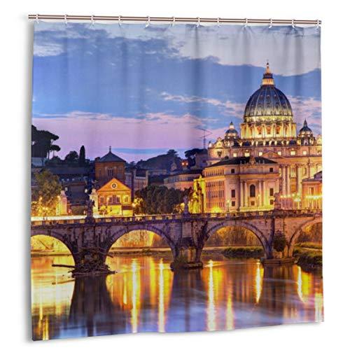 MAYUES Cortina de baño, Roma_Tiber_Atardecer_San_Pedro Juego de Cortinas de baño con Ganchos 72 x 72 Pulgadas