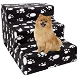 YOFIT Doggy Steps - Non-Slip 3 Steps Pet Stairs for Cats and Dogs, Foldable Plastic with Washable Carpet Holds Up to 70 lbs (Dark)