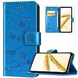 Huawei P40 Lite E Coque,Huawei Y7P Coque en Cuir Portefeuille Flip Case,Élégant Fleur Motif Magnétique à Rabat Pochette Etui Housse de Protection avec Support Fentes Cartes,Bleu