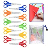 QUACOWW 10 Pack Preschool Training Scissors Children Safety Scissors Kids Scissors DIY Student Scissors with Scale and 1 Piece Waterproof Stationery Bag for School and Craft Projects