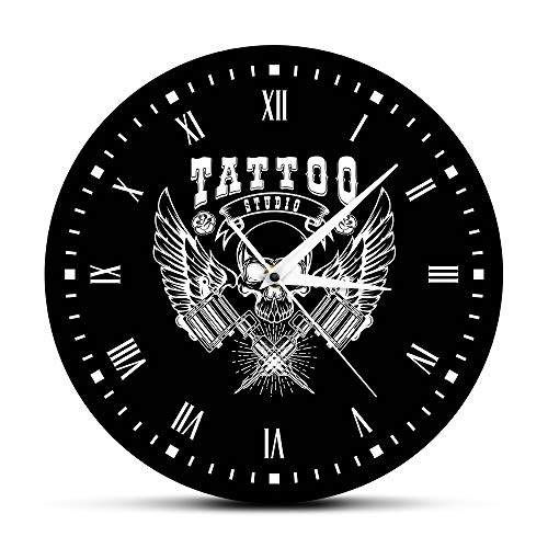 DJDLNK Old School Art Tattoo Studio wandklok modern doodshoofd en tribal klok winkelen tattoo studio decoratie tattoo cadeau Modello B.
