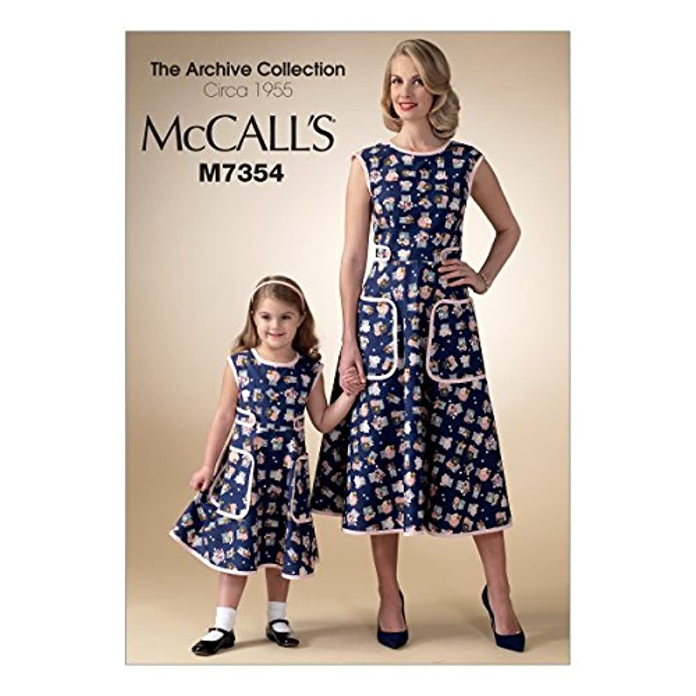 McCall's Patterns M7354 Misses'/Children's/Girls' Matching Back-Wrap Dresses, Size Kid (3-4 5-6 7-8)
