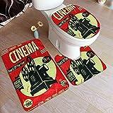 GUVICINIR Alfombrillas de baño Set 3 Piezas,Película Cine Retro Cine Vintage Antiguo Cámara Teatro,Alfombra de Piso Antideslizante Alfombra de Inodoro en Forma de U Cubierta de
