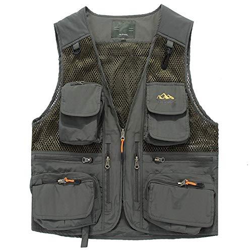 Mens Waistcoat Outdoor Quick Dry Fishing Vest Jacket Top Multipurpose Camping Hunting Gilet ArmyGreen-L