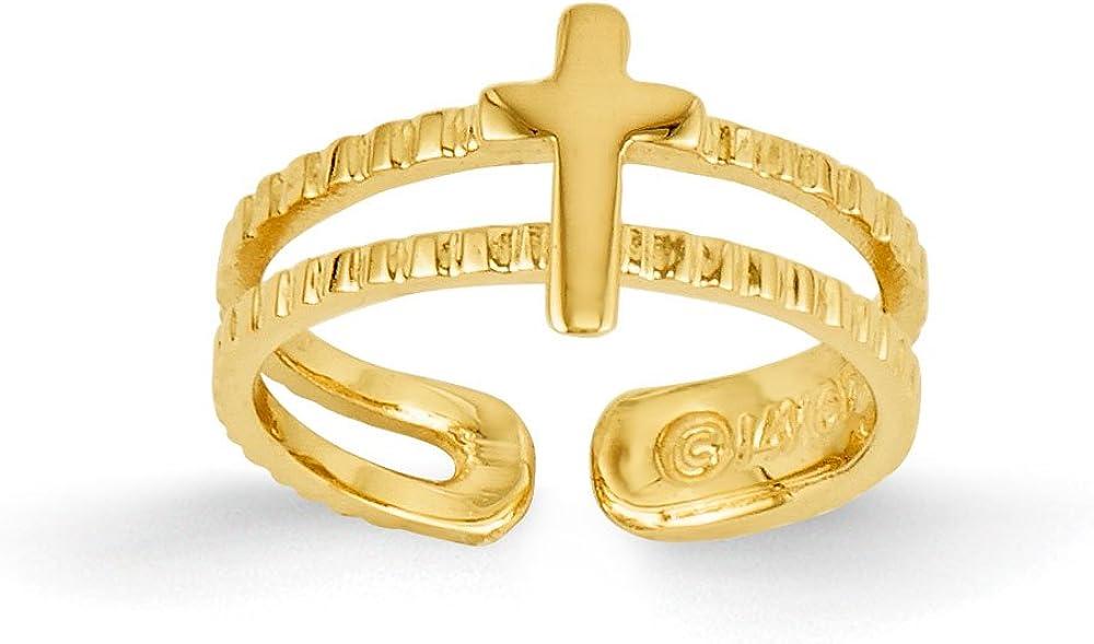 Women's 14K Yellow Gold Cross Toe Ring