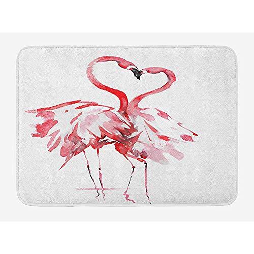 Alfombra de baño Flamingo, Pareja de flamencos besándose Romance Pasión Socios en el Amor Efecto Acuarela, Alfombra de baño de Felpa con Respaldo Antideslizante, 15 'X 27'