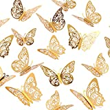 Crosize 72Pcs 3D Gold Butterfly Wall Decor 3 Sizes Butterfly Decorations Butterfly Party Cake Decorations 3D Butterfly Stickers Decals for Girls Kids Baby Bedroom Bathroom Living Room Birthday