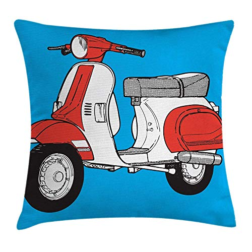 Funky Throw Pillow Cushion Cover, Cute Scooter Motorcycle Retro Vintage Vespa Soho Wheels Rome Graphic Print, Decorative Square Accent Pillow CaseBlue Vermilion White 18x18inches
