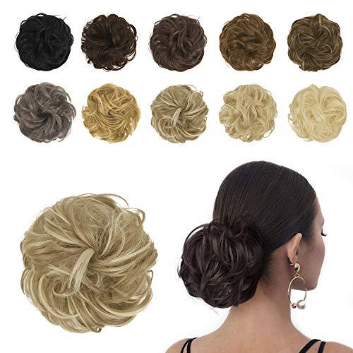 BARSDAR Extensions de chignon épais cheveux bouclés naturels pour femme Brun cendré clair et blond javellisant
