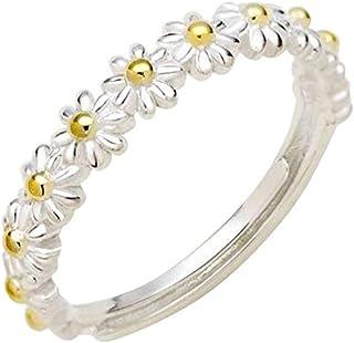 JAWSEU Sommar tusensköna ringar för kvinnor, delikat liten blomma tusensköna ring, tusensköna kedja blomma öppen bandring,...