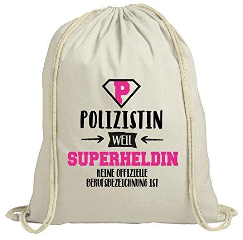 ShirtStreet Geburtstags,- Jubiläums,- Ausbildungsgeschenk natur Turnbeutel mit Polizistin - Superheldin Motiv, Größe: onesize,natur