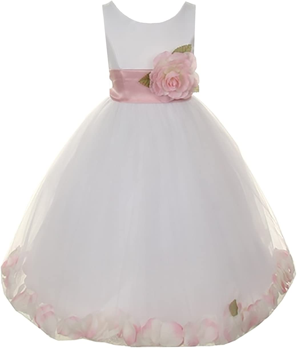 Cinderella Couture Big Girls' White Satin Tulle Petal Flower Girl Pageant Dress