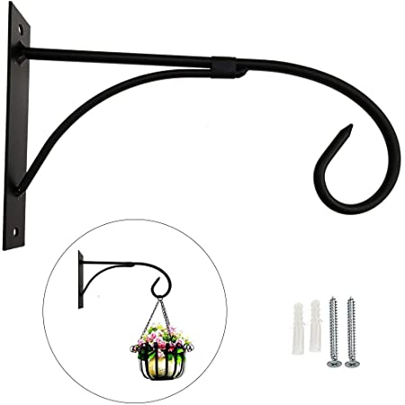 1PCS Heavy Duty Iron Hanging Plant Bracket Wall Mount Plant Hanger for Hanging Baskets,Wind Chimes,Flower Pot,Bird Feeders,Indoor and Outdoor Decor 11.8Inch,White