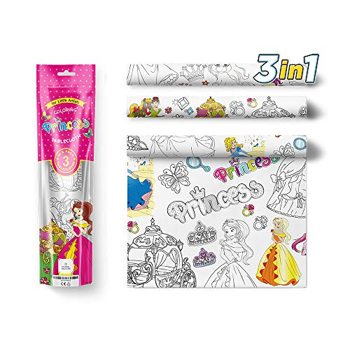 Kids Coloring Tablecloth 3pc Pack, Fairy Tale Princess - Big Extra Large Color In Draw On Activity Doodle Board Table Cloth Set – Jumbo Colorable Cover for Girls Birthday, Holiday Party