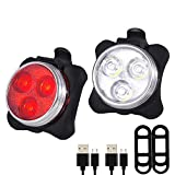 JGRZF Bike Light Set USB Rechargeable Bicycle Light Front and Back Bike Lights Super Bright Waterproof 4 Light Mode Options (Bike Light Set,Front Light) (Bike Light Set)