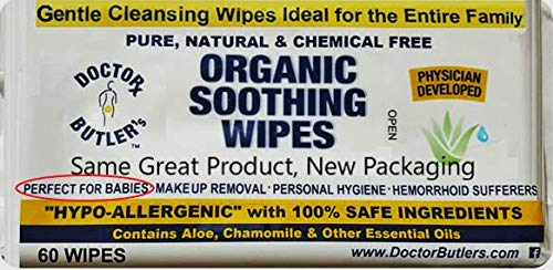 Doctor Butler's Organic Soothing Baby Wipes - Hypoallergenic...