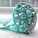 xinni handmade bridal wedding bouquet bride bridesmaid satin rose flower bouquet with meteor shower shape rhinestone wedding decoration turquoise