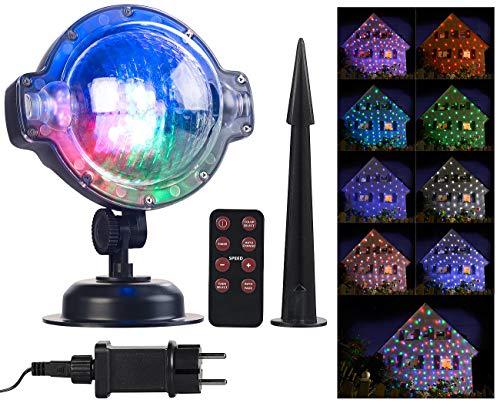 Lunartec Projektionslampe: LED-Kugellampe mit Schneefall-Effekt und Timer, weiß + RGB, IP44 (Weihnachtsstrahler)