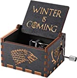 Cool Stuff Wooden Hand Cranked Collectable Engraved Unique & Antique Music Box Portable Vintage Hand Carved Crank Lever Musical Box Music Lover Giftable Item Music Box [Game of Throne Tune]