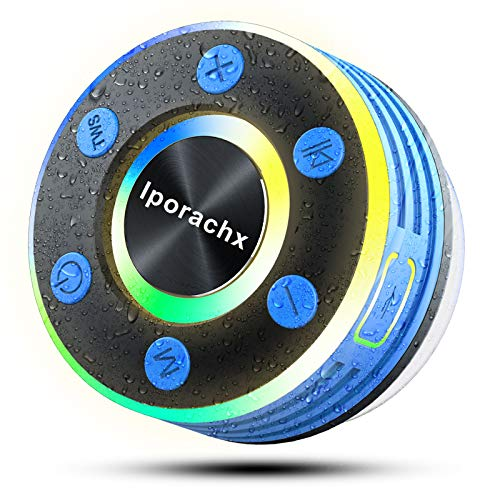 iporachx Altavoz Bluetooth Ducha, Altavoz Bluetooth 5.0 Portatil IPX7 Impermeable con Ventosa Desmontable, Sonido estéreo HD Potentes conTWS & Micrófono, 8Horas de Reproducción, Radio FM/luz LED