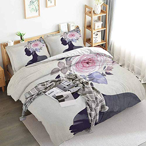 Aishare Store - Juego de funda de edredón para mujer, diseño de flores, diseño de mujer femenina, 3 piezas, incluye 2 fundas de almohada, tamaño Queen (228 x 228 cm), color morado oscuro, rosa y beige
