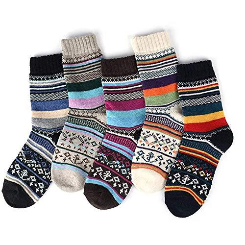 Hunpta@ 5 Paar Damen Streifen Socken Mittelstrumpf Mode Streifen Frauen Mädchen Baumwolle Winter Warm Dicke Socken