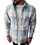 Minetom Camisas A Cuadros para Hombre Blusa De Manga Larga Cuadros Clásicos Blusas Camisa De Leñador B Azul Claro XL