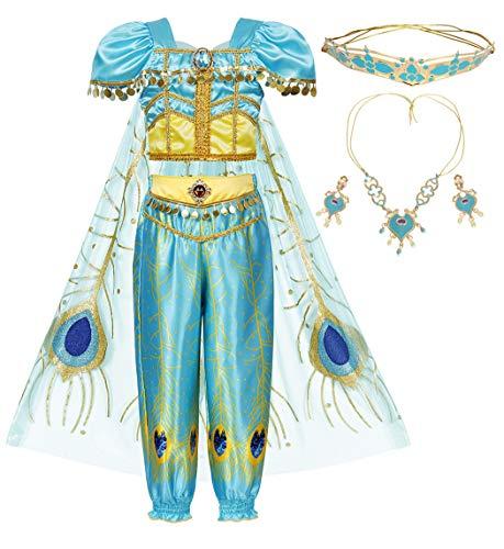 AmzBarley - Disfraz de jazmín para niñas y niños, diseño árabe de Halloween
