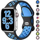 Upeak Cinturino Compatibile con Cinturino Apple Watch 44mm 42mm 40mm 38mm, Cinturini con Fibbia a Doppio Foro in Silicone Traspirante, per iWatch Series 6 5 4 3 2 1 SE, 42mm/44mm-M/L, Nero/Blu