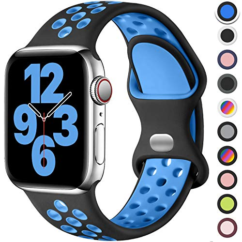 Upeak Silicona Correa Compatible con Correa Apple Watch 44mm 42mm 45mm, Pulsera Transpirable con Hebilla de Doble Agujero, para iWatch Series 7 6 5 4 3 SE, 42mm/44mm/45mm-M/L, Negro/Azul