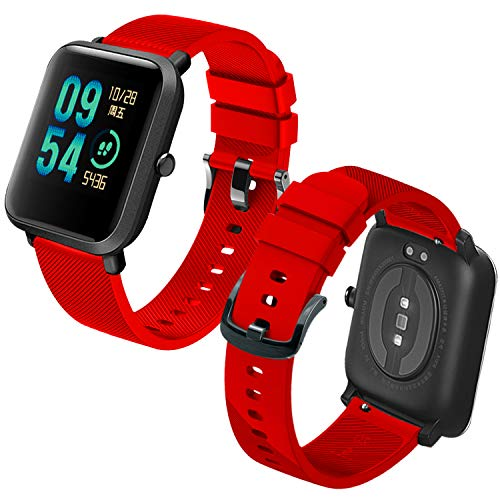 Th-some Correa para Amazfit Bip Impermeable Universal - Reemplazo de Pulsera Ajustable para Xiaomi Huami Amazfit Bip bit Lite Youth/Amazfit GTR 42mm Watch, Rojo Sin Tracker