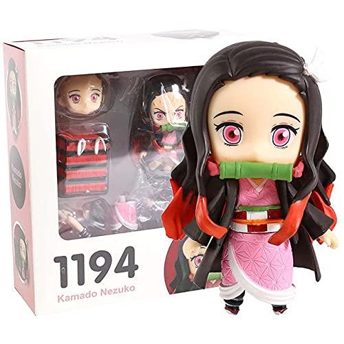 Cacowap Modelo de personaje de anime, muñeca linda versión Q, muñeca que cambia la cara, decoración de muñeca articulada móvil, dormitorio cabecera sala de estar decoración de PVC (Kamado Nezuko)