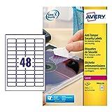 Avery España L6113-20 - Pack de 20 folios de etiquetas anti-manipulación, 45.7 x 21.2 mm, color blanco