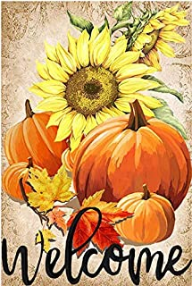 LHSION Pumpkin Sunflowers Garden Flag 28 x 40 Inch - Welcome Fall Garden Flag Decorative House Yard Double Sided Flag for Indoor & Outdoor Autumn Thanksgiving Day Decoration