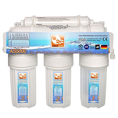AquaSafe AS5000 Umkehrosmose Wasserfilter 5-stufig mit Wasserstop