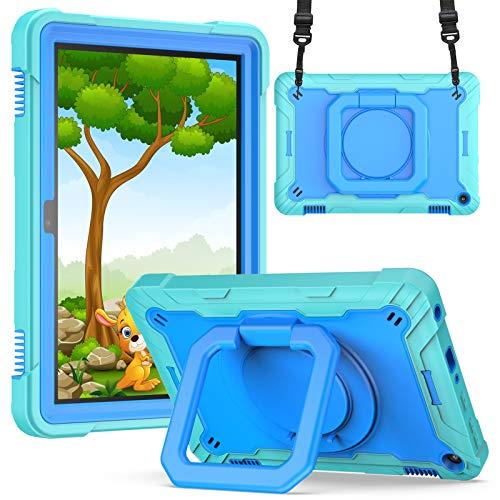 KATUMO Funda para Tableta Compatible con Fire HD 8 / Fire HD 8 Plus (versión de 10a generación 2020), Funda Protectora para niños (Soporte y Correa giratorios de 360 °) ,Verde Menta y Azul