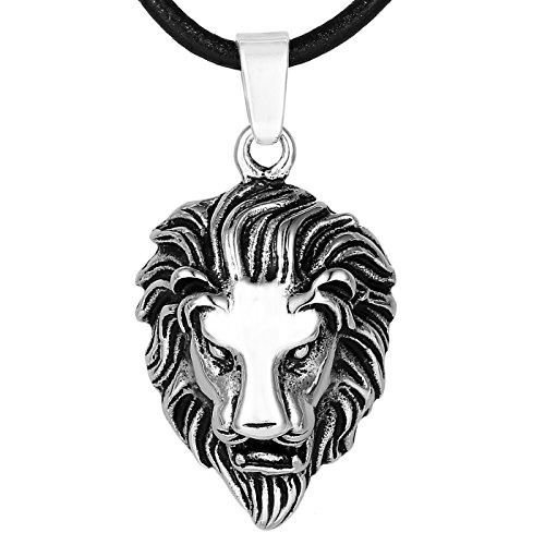 DonDon Collar de Cuero con Colgante león de Acero Inoxidable para Hombres en Bolsa para Joyas