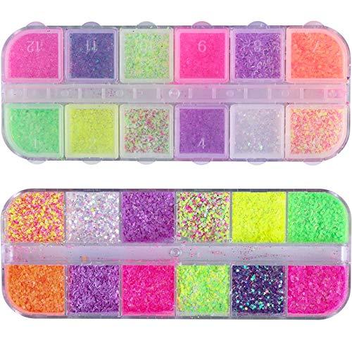 1 Estuche Queso Azúcar Polvo para uñas Polvo Brillo Pigmento holográfico Hexágono Mixto Lentejuelas Paillette Decoración Consejos Manicura JISN