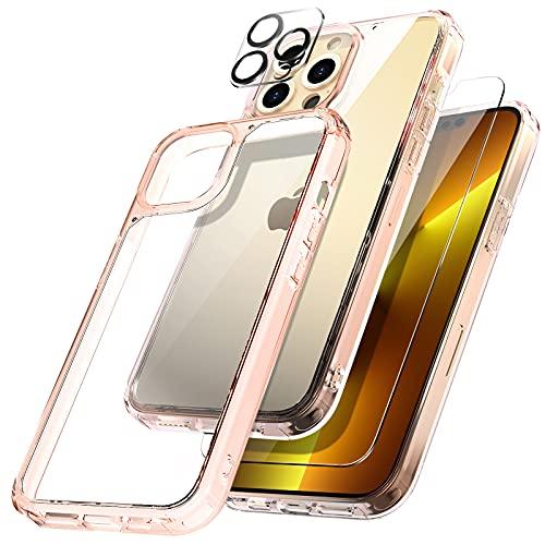 TOCOL [3 In 1 Hülle Kompatibel mit iPhone 13 Pro Max 6.7 Zoll Schutzhülle, 2 Stück Panzerglas 2 Stück Kamera Panzerglas, Ultra Dünn Aber Stoßfeste Handyhülle iPhone 13 Pro Max Hülle,Rosegold Cover