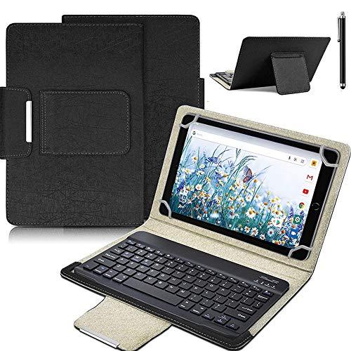 SsHhUu Funda con Teclado para Tablet de 7-8 Pulgadas | Teclado inalámbrico Bluetooth 2 en 1 & Cubierta Folio de Cuero, Carcasa de Cuero para Tableta Android / iOS / Windows de 7' a 8', Negro